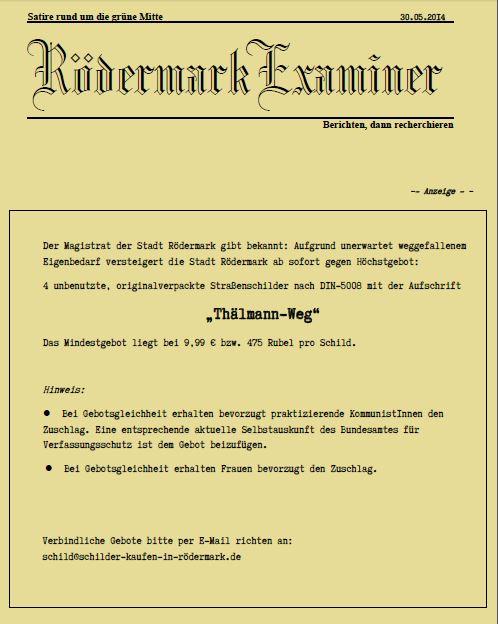 Thälmann-Weg in Rödermark. Ungebrauchte Schilder zum Thälmann-Weg abzugeben. Newspaper anklicken.